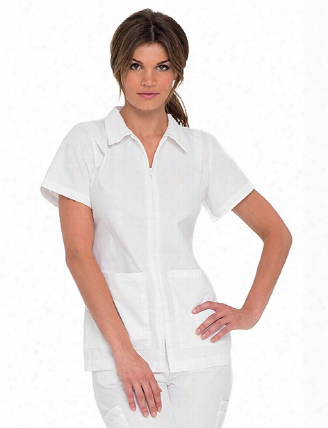 Landau Student Zip Front Tunic - White - Female - Women's Scrubs