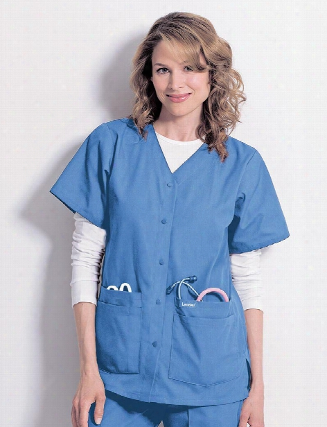 Landau V-neck Snap Front Scrub Tunic - Ceil Blue - Female - Women's Scrubs