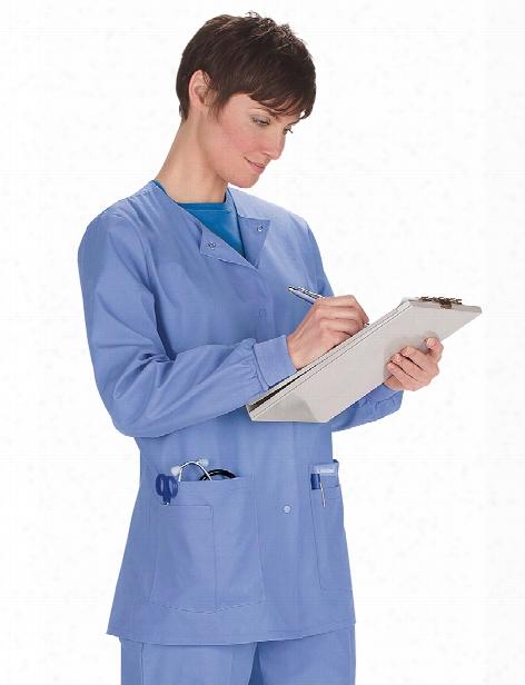 Landau Warm-up Scrub Jacket - Ceil Blue - Female - Women's Scrubs