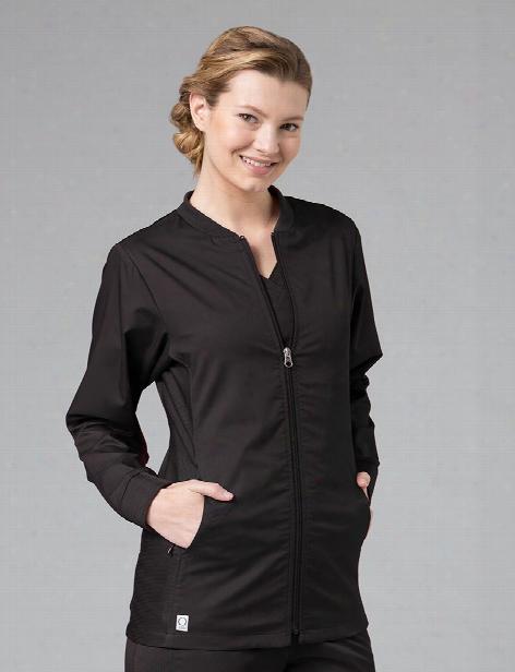 Maevn Eon Active Sporty Mesh Panel Jacket - Black - Female - Women's Scrubs