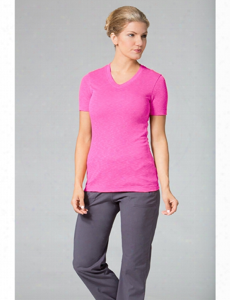 Maevn Ladies Curved V-neck Modal Knit Tee - Passion Pink - Female - Women's Scrubs