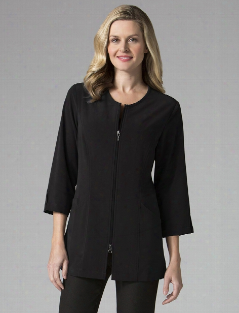 Maevn Smart Collection 3/4 Sleeve Lab Jacket - Black - Female - Women's Scrubs