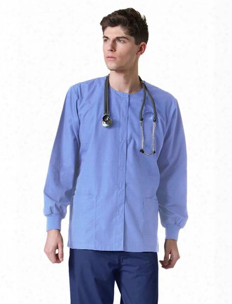Maevn Unisex Round Neck Snap Front Warm-up Jacket - Ceil Blue - Unisex - Unisex