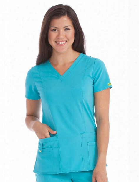 Med Couture Activate In-motion Scrub Top - Aquamarine - Female - Women's Scrubs
