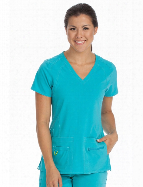 Med Couture Activate Refined Scrub Top - Asuamarine - Female - Women's Scrubs