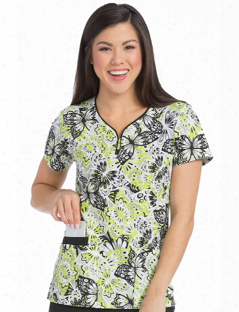Med Couture Air Frilly Flutters Zippity Scrub  Top - Print - Female - Women's Scrubs