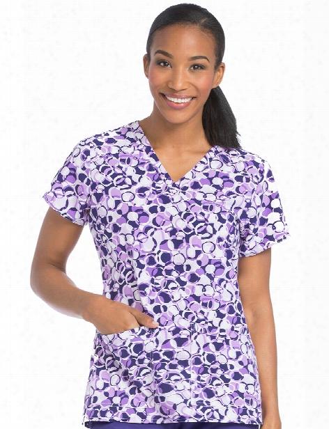 Med Couture Air Spheres Of Grape Sky High Scrub Top - Print - Female - Women's Scrubs