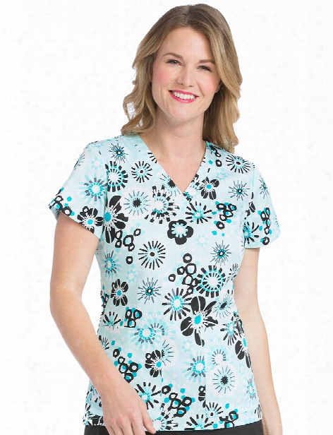Med Couture Breezy Blooms Valerie Scrub Top - Print - Female - Women's Scrubs
