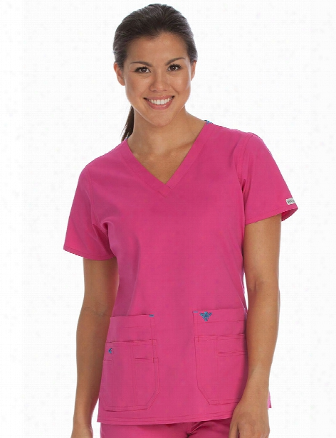 Med Couture Flex-it Scrub Top - Azalea-harbor Blue - Female - Women's Scrubs