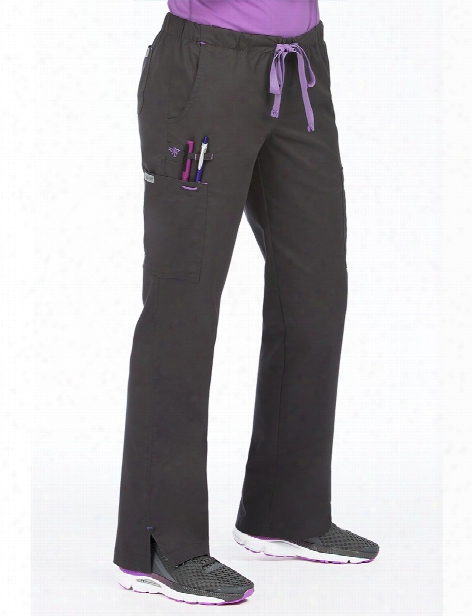 Med Couture Mobility Scrub Pant - Charcoal-signature P Urple - Female - Women's Scrubs
