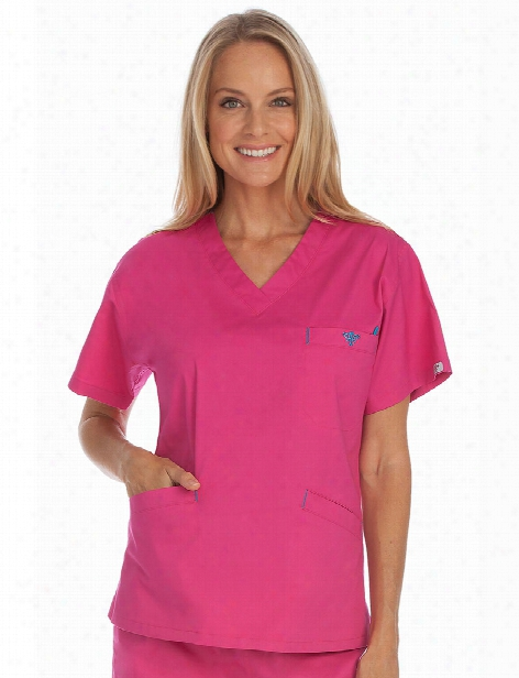 Med Couture Signature Scrub Top - Azalea-harbor Blue - Female - Women's Scrubs