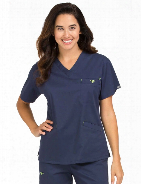 Med Couture Signature V-neck Clearance Scrub Top - Navy-apple - Female - Women's Scrubs