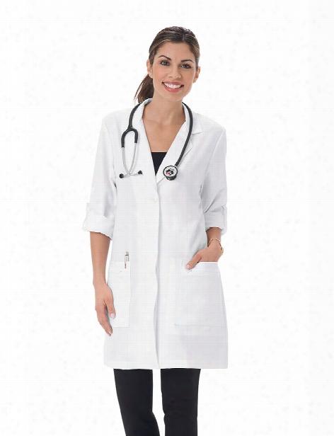 "Meta Labwear Pro 33"" Ladies Roll-up Sleeve Stretch Lab Coat - White - Female - Women's Scrubs"
