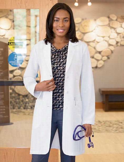 Meta Labwear Pro Ladies Stretch 35 Inch Lab Coat - White - Female - Women's Scrubs
