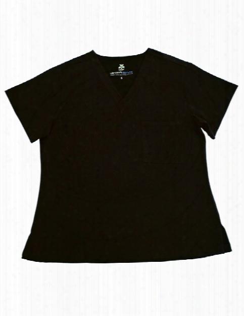 Natural Uniforms Ultrasoft Chest Pocket Scrub Top - Black - Female - Women's Scrubs