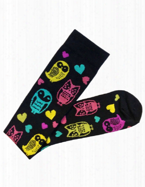 Prestige Medical Owl Compression Socks - Owls Black - Female - Women's Scrubs