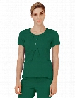 Adar Clearance Indulgence Jr. Fit Scoop Neck Scrub Top - Hunter Green - female - Women's Scrubs