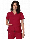 Adar Clearance Pop-Stretch Junior Fit V-Neck Scrub Top - Cardinal - unisex - Clearance