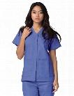 Adar Universal Double Pocket Snap Front Scrub Top - Ceil Blue - female - Women's Scrubs