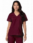 Adar Universal Mock Wrap Scrub Top - Burgundy-Burgundy - female - Women's Scrubs