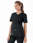 Cherokee WorkWear Core Stretch Maternity V-Neck Top - Black - female - Women's Scrubs