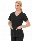 Jockey Classic Sporty V-Neck Scrub Top - Black - female - Women's Scrubs