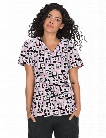 Koi Stretch Luna Puzzled Scrub Top - Print - female - Women's Scrubs
