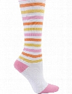 Nurse Mates Nurse Mates Pink/Peach/Yellow Stripe Compression Trouser Socks - female - Women's Scrubs