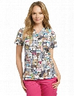 White Cross Best In Show Scrub Top - Print - female - Women's Scrubs