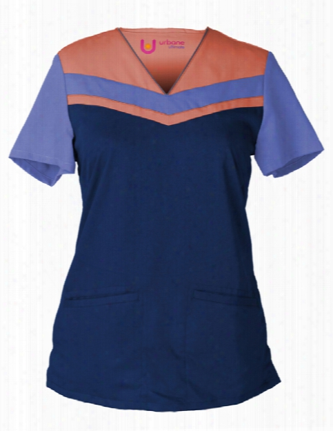 Urbane Ultimate Chevron Colorblock V-neck Scrub Top - Navy-ceil-creamsicle - Female - Women's Scrubs