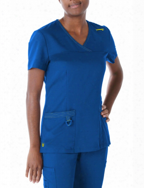 Urbane Ultimate Ultra Crossover Scrub Top - Galaxy-yellow - Female - Women's Scrubs