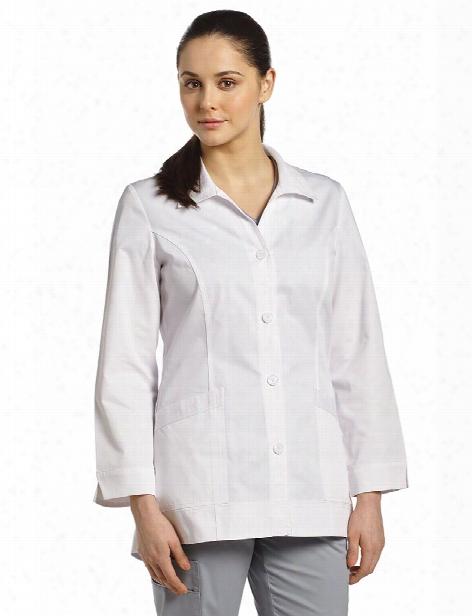 White Cross 4 Button Labcoat - White - Female - Women's Scrubs