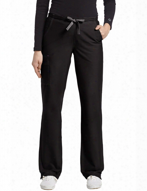 White Cross Allure Contrast Stitch Cargo Pocket Scrub Pant - Black - Female - Women's Scrubs