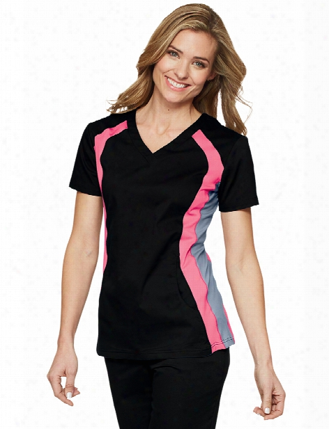 White Cross Allure Contrast V-neck Scrub Top - Black-pink Cocktail-grey - Female - Women's Scrubs