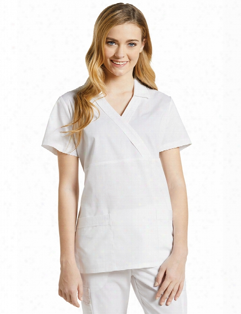 White Cross Allure Mock Wrap Scrub Top - White - Female - Women's Scrubs