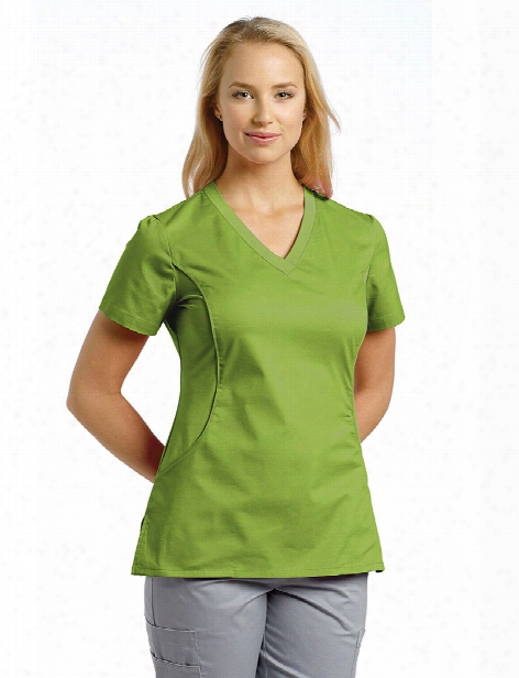 White Cross Allure Slim Fit V-neck Knit Sides Solid Scrub Top - Green Apple - Female - Women's Scrubs