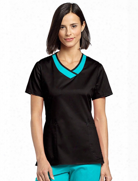 White Cross Allure Two Color V-neck Scrub Top - Black-blue Curacao - Female - Women's Scrubs