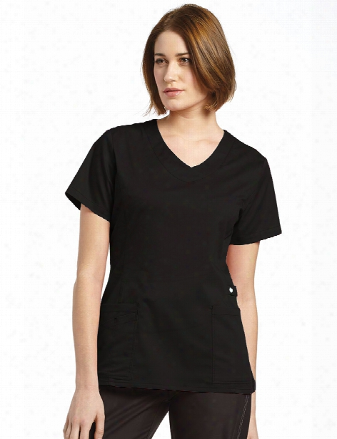 White Cross Allure Vneck Scrub Top - Black - Female - Women's Scrubs