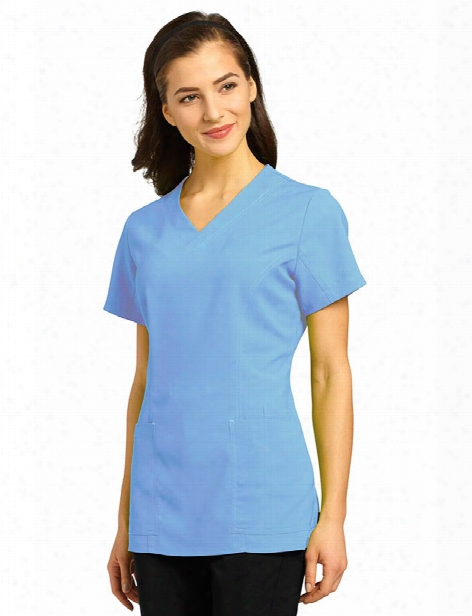 White Cross Clearance Oasis Stretch V-neck Scrub Top - Ceil Blue - Unisex - Clearance