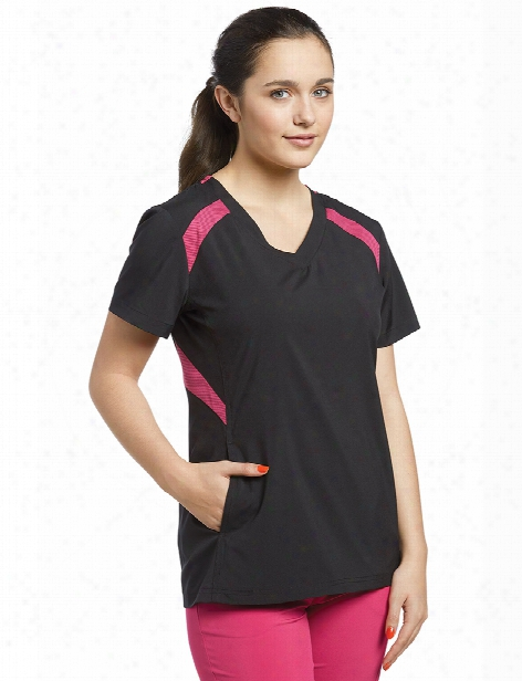 White Cross Fit Contrast Mesh Scrub Top - Black-fuchsia - Female - Women's Scrubs