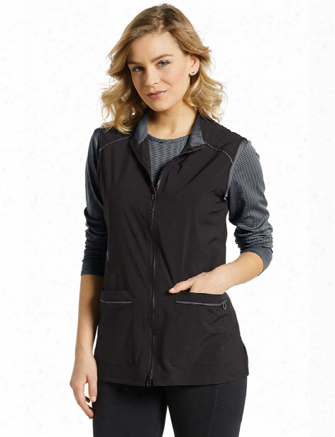 White Cross Fit Contrast Vest - Black - Female - Women's Scrubs
