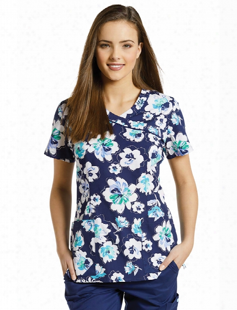 White Cross Fuji Navy Print Top - Print - Female - Women's Scrubs