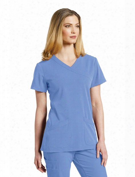 White Cross Marvella Mock Wrap Scrub Top - Ceil - Female - Women's Scrubs