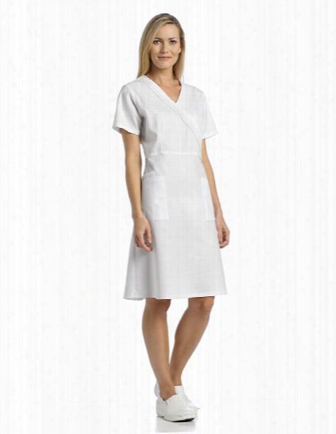 White Cross Pleated Mock Wrap Scrub Dress - White - Female - Women's Scrubs