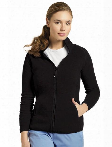 White Cross Polar Fleece Zip Jacket - Black - Female - Women's Scrubs