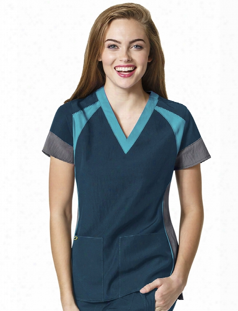Wonderwink Four-stretch Color Block V-neck Scrub Top - Caribbean-pewter-real Teal - Female - Women's Scrubs