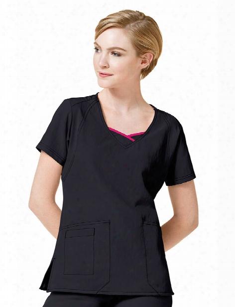 Wonderwink Four-stretch Curve-centric Fashion Scrub Top - Black - Female - Women's Scrubs