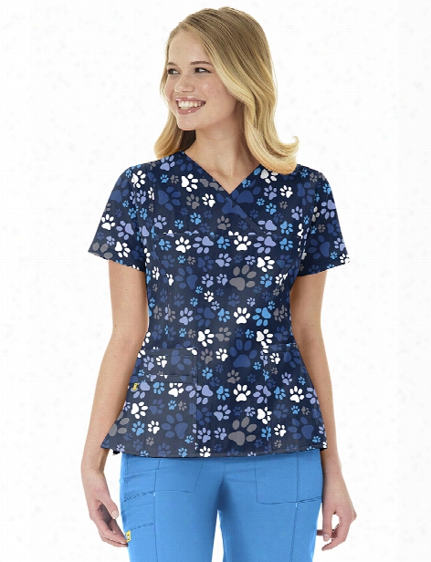 Wonderwink Four-stretch Doggy Lovin Scrub Top - Print - Female - Women's Scrubs