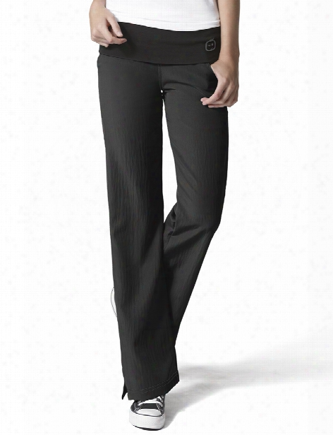 Wonderwink Four-stretch Fold Over Knit Waist Scrub Pant - Black - Female - Women's Scrubs