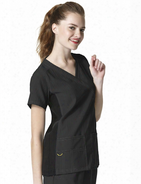 Wonderwink Four-stretch Mock Wrap Knit Panel Scrub Top - Black - Female - Women's Scrubs